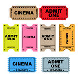 Ticket admit one - set Stock Images