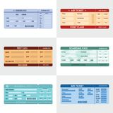 Ticket airline banner horizontal set, flat style Stock Images