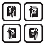 Ticket or ATM machine icon in four variations Royalty Free Stock Images