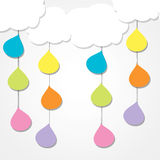 Ticket banner. Tichet banner with clouds and drops Royalty Free Stock Photo