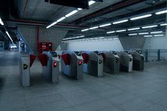 Ticket barrier at railway station Stock Photos