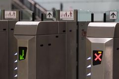 Ticket barriers. Subway station turnstile royalty free stock photos
