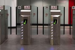 Ticket barriers. Subway station turnstile stock photography