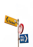 Ticket, book shop, wc guideposts Royalty Free Stock Image