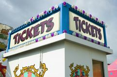 Ticket booth. A carnival ticket booth with lights royalty free stock photos