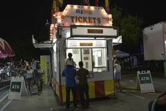 Ticket Booth at a festival stock image