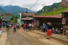 Ticket booth and tourists at the entrance to Cat Cat ethnic vill Stock Image