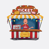 Ticket cart or booth in carnival festival. vintage and retro sty Stock Image