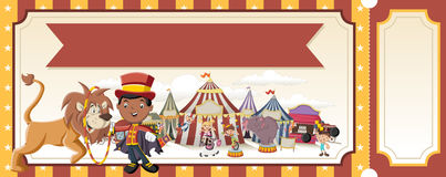 Ticket with cartoon characters in front of retro circus. Royalty Free Stock Image