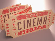 Ticket Cinema. Entry ticket to the cinema. Admit One Royalty Free Stock Image