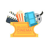 Ticket cinema reel pop corn and clapper. Set cinema movie icon design. Cinema design over white background, vector illustration Stock Image