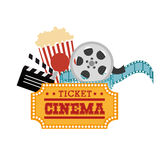 Ticket cinema reel pop corn and clapper. Vector illustration eps 10 Stock Image