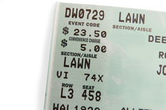 Ticket closeup. Ticket stub macro Royalty Free Stock Image