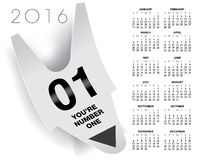 Ticket concept 2016 calendar. You are number one ticket concept 2016 calendar vector illustration