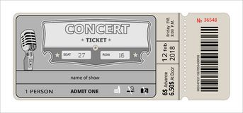 Ticket concert invitation. show, coupon, ticket. pass admission entry entrance. Admit pass cardboard vector illustration