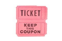 Ticket and Coupon. Tickets and coupon for a pink cardboard for visiting of show, concerts etc Stock Photography