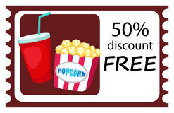 Ticket drink and popcorn Royalty Free Stock Photo