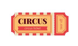 Ticket for entrance to circus, templates, show performances, vintage. Circus show ticket. Invitation to activity, event, loud show, presentation, opening royalty free illustration