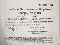 Eibar metalwork union fee ticket. Spanish civil war. Ticket fee for the metallurgical union of Gipuzkoa, section of Eibar. in the name of Juan Echevarria. Eibar Royalty Free Stock Images