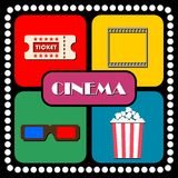 Ticket, film, glasses, popcorn Cinema Stock Photos
