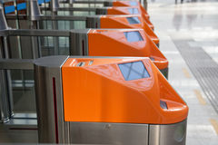 Ticket gate in railway station Royalty Free Stock Photos