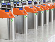 Ticket gates at a railway station Stock Photo