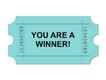 Ticket Green. Green ticket on white background with sample writing YOU ARE A WINNER Stock Photos