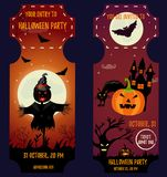 Ticket Halloween Party. Invitation template. Halloween background with creepy house, moon, scarecrow, scare pumpkin, cat and bats Stock Photo