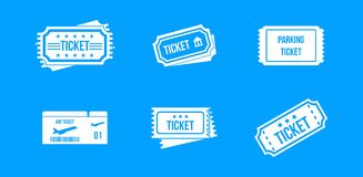 Ticket icon blue set vector. Ticket icon set. Simple set of ticket vector icons for web design isolated on blue background Royalty Free Stock Photos