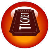 Ticket icon or button. Red and white admission ticket web icon or button Stock Image