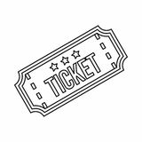 Ticket icon in outline style. On a white background Stock Photos