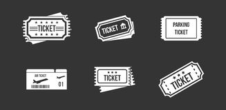Ticket icon set grey vector. Ticket icon set vector white isolated on grey background Royalty Free Stock Photography