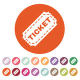 The ticket icon. Ticket symbol. Flat. Vector illustration. Button Set Stock Photos