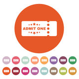 The ticket icon. Ticket symbol. Flat. Vector illustration. Button Set Stock Image