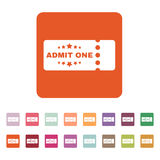 The ticket icon. Ticket symbol. Flat. Vector illustration. Button Set Stock Photography