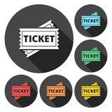 Ticket Icons set with long shadow. Vector icon Stock Photo