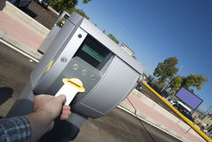 Ticket inserting for parking area Stock Image