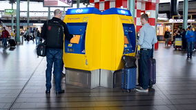 Ticket kiosk in Amsterdam Airport Schiphol, Netherlands, stock video footage