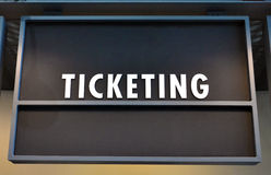 Ticket Line Sign. A ticket sign marks where the line begins Stock Photos