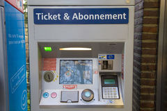 Ticket machine in Brussels subway. Brussels, Belgium - December 25 2013: Ticket machine in Petillon subway station on 25.12.2013 in Brussels, Belgium Royalty Free Stock Image