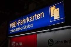 Ticket machine of the German railway company Deutsche Bahn stock photography