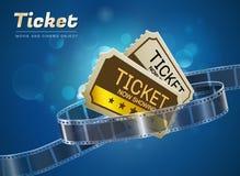 Ticket movie cinema object. Ticket cinema movie theater object on bokeh background Royalty Free Stock Photos