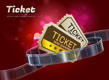 Ticket movie cinema object vector illustration. Ticket cinema movie theater object on bokeh background vector illustration Royalty Free Stock Images