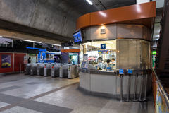 Ticket office corner at BTS Mo Chit station at night. Bangkok, Thailand - January 18, 2016 : Ticket office at the BTS Mo Chit station at the evening with no royalty free stock photos