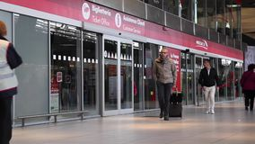 Ticket office and customer support in the central train station stock footage