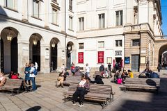 Ticket Office and La Scala Theater Museum in Milan stock images