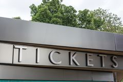 Ticket office on metal background close up Royalty Free Stock Image