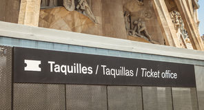 Ticket office sign in front of the Sagrada Familia Stock Photos