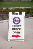 Ticket Office Sign at Hammond Stadium. This sign points fans to the Hammond Stadium ticket office. Hammond Stadium is the spring training home of the Minnesota Royalty Free Stock Photos