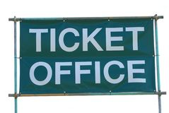 Ticket office sign. Sign of a reception office for selling tickets for a show, event, tourist attraction entry, or entertainment life event Royalty Free Stock Images